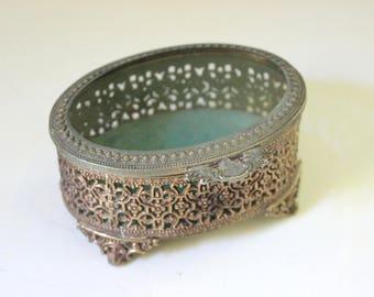 Vintage Jewelry Box Beveled Glass Hinged Lid Casket Box Filigree Design Footed Trinket Box Vintage Vanity Ring Holder Boudoir Bedroom Bridal