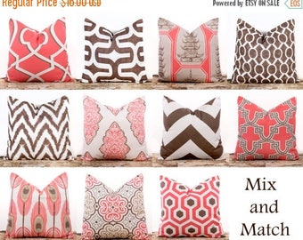 """SALE ENDS SOON Pink Throw Pillows, Bittersweet Pink Pillows, Brown Throw Pillows, Chevron Pillows, Cotton Pillow Covers, 16 x 16"""""""
