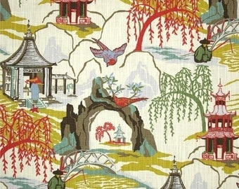 SFIPS FAST Robert Allen Neo Toile Coral Fabric, Coral Asian Pagoda Home Decor Fabric, Chinoiserie Drapery Fabric, Neo Coral Fabric Yardage