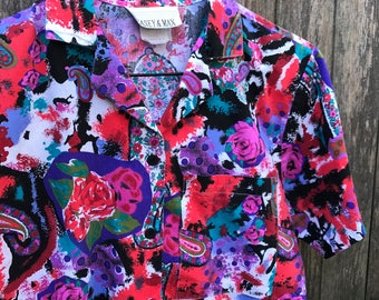 Rose Floral Print Button Up