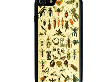Insects Phone Case, Entomology Science, Bugs, iPhone 5 5s 5c 6 6s 6+ 6s+ SE 7 7+ 8 8+ X Galaxy S7 S8 S8+ Case, Edge, Plus