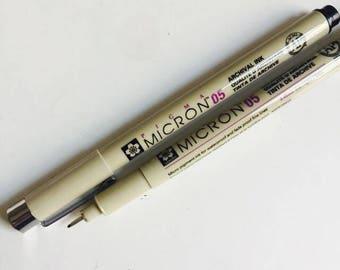 Pigma Micron Pen 05 0.45mm/Zentangle/Scrapbook/Black/Wedding Guest Book Signing