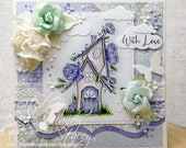 OOAK Stamping Bella Tiny Townie Fairy Garden House Handmade Card