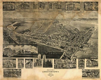 Chestertown, Maryland - (1907) - Panoramic Map (Art Print - Multiple Sizes Available)