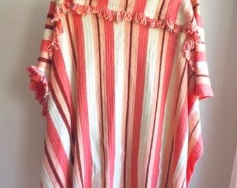 Vintage Peach Striped Crochet Afghan Blanket with Fringe