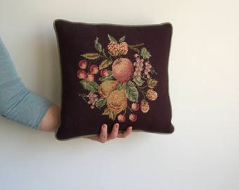 Vintage Brown Needlepoint Floral Throw Pillow