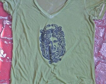 SUMMER SALE Green Burnout Medusa V-Neck T-Shirt Size L