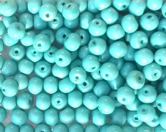 30 round turquoise matte glass beads 4mm