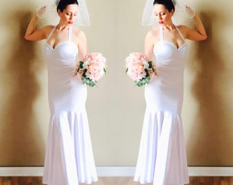 Snow White BRIDAL COUTURE Mermaid Gown Long Wedding Retro Bride 1950s Inspired