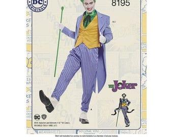 8195 Simplicity, Men's D.C. Comics Joker Costume, Batman Villain Movie Joker Costume, Heath Ledger Joker Costume, DC Comics Villains Costume
