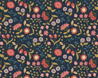Chieveley A241.3 - Country House Floral On Darkest Blue Lewis & Irene Patchwork Quilting Fabric