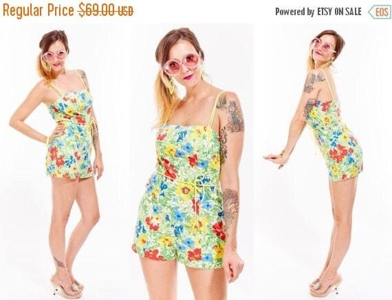 Vtg 60s Floral ROMPER Jumpsuit Onesie Retro Bathing suit PIN UP Rockabilly Resort Old Hollywood Mini Dress Mod Boho Kitschy Babydoll Dolly