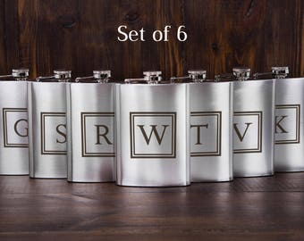 6 personalized groomsmen flasks, custom flasks, engraved flasks, party favors, flasks gift set, thank you gifts, cheap gift flask, set of 6
