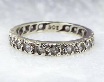 Vintage / Art Deco 9ct White Gold Spinel Eternity Wedding Band Ring / Size L