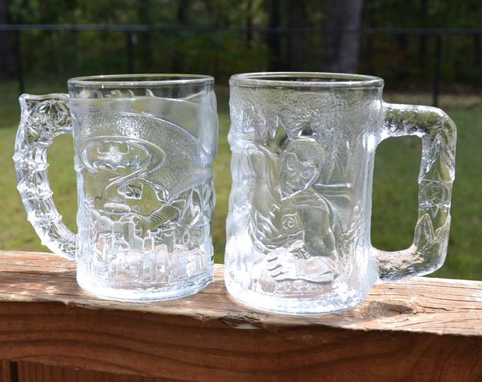 Vintage Batman and Robin Glass Mugs McDonalds Batman Forever 1995 Promotional  Collectible PanchosPorch