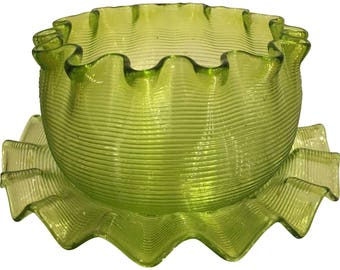 A Rare Antique Venetian Threaded Glass Bowl & Plate - Chartreuse