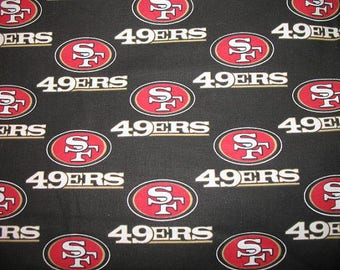 """18"""" remnant San Francisco 49ers fabric NFL National Football League red gold black white 100% Cotton fabric by the yard quilting sewing"""