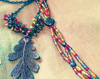 Autumn Leaf Necklace and Beaded Bracelet / Handmade Jewelry / Metal Jewelry / Leaf Pendant