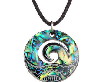 Tide Jewellery Paua Shell Maori Tribal Wave Pendant Gift Boxed