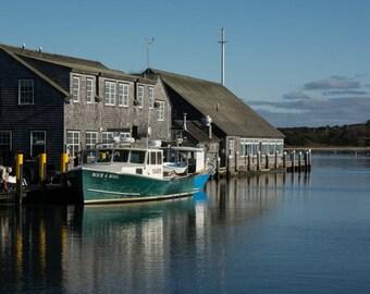 Edgartown Fishing Boats, Martha's Vineyard, Cape Cod, Massachusetts, New England, ocean art, nautical decor, ocean decor, nautical art