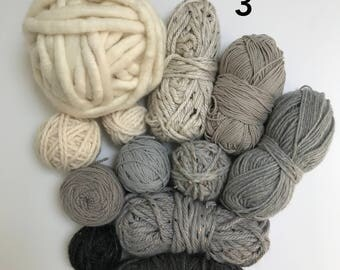 Deluxe Yarn Sampler // Curated Yarn Bundle // Weaving Crafting School Home Projects Party Decor // Cool Neutrals Multi Pack // Stash Sale