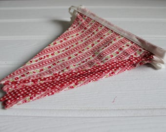 Handmade Red Floral Gingham Bunting
