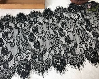 Chantilly Lace, Black Eyelash Lace Trim, Delicate Scalloped Edges Lace, 3 Yards