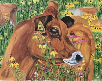 Field of Cows Watercolor