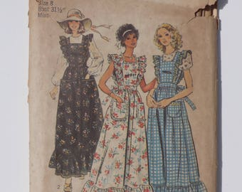 Vintage 1974 Simplicty Pattern 6218 Misses Apron Dress and Blouse Sizes 8, 10 & 12
