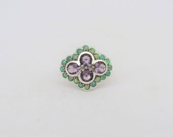 Vintage Sterling Silver Amethyst & Green Opal Cluster Ring Size 6