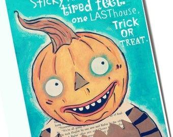Trick or Treat Pumpkin Man 8x10 print of original art by Cortney Rector Designs