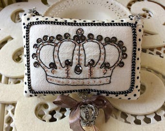 Embroidered Pillow - Novelty Pillow - Crown Pillow