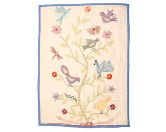 BABY COT QUILT - Bengali Embroidered - Tree of Life design