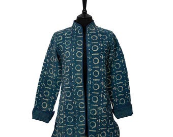 INDIGO DYED Kantha JACKET - X Small - Long style - Size 8/10 - Indigo with Off White. Reverse Blue