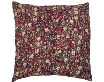 Kantha Cushion Cover - Red and beige flowers on black background