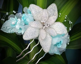 BRIDAL HAIR COMB, wedding hair accessory, custom flower clip, Mint Hair piece Headpiece, Fascinator, Beach, Hawaiian, Wedding hair flower