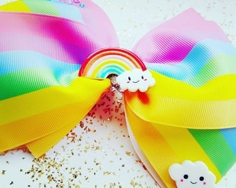 "Large 7"" hair clip summers day sun rainbows billowy clouds beautiful"