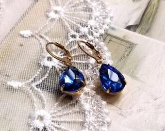 Sparkling pear shape teardrop Sapphire blue drop earrings Leverback antique gold earwires Vintage inspired Gift earrings