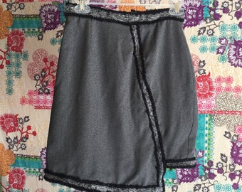 Gray and Black Asymmetrical Skirt