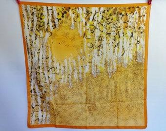 Vintage Abstract orange yellow Scarf 76cm x 76cm