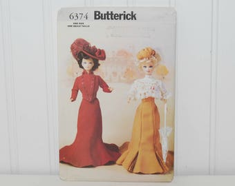 """Butterick 6374 Sewing Pattern, Delineator Girls 11 1/2"""" Fashion Doll Historical Dresses From 1900 (c. 1999) Early 20th Century Doll Clothes"""