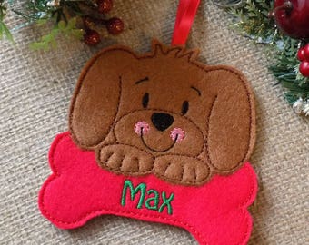 personalised christmas decoration, dog christmas decoration, pet decoration, gift for dog lover, christmas decoration, felt tree decoration