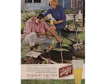 Vintage 1960 poster advertisement for Schlitz beer - 60