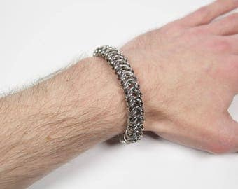 Box Chain Bracelet, Stainless Steel, Chainmaille Bracelet, Chainmail Bracelet, Chain Maille, Chain Mail, Mens Bracelet, Mens Jewelry
