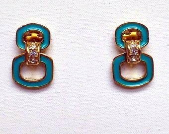Attwood & Sawyer Earrings Signed Vintage AS Clip On Aqua Blue