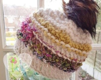 Hand Knit Hat Chunky Beanie Hat 100% Wool White and Rainbow Art Yarn