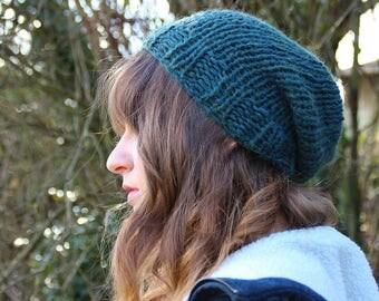 Green - Man slouchy Beanie / women - hand knitted.