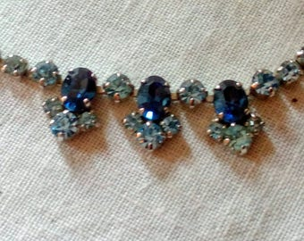 Vintage  sapphire blue  diamante bib necklace 1950s