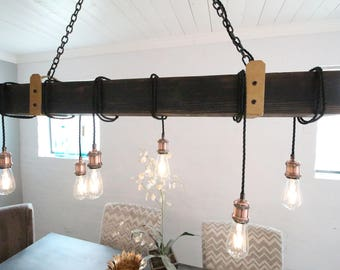 6 light Beam wrap with Brass and Iron accents. FREE SHIP  Wood Light Fixture, Beam Light, Edison Light Fixture, Barnwood Lighting