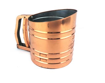 Foley Sift Chine Flour Sifter Kitsch Retro, Vintage Flour Sifter, Copper Sifter